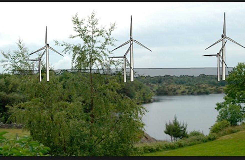 Her har en laget et bilde som viser forskjellen på de «små» og de planlagt store vindmøllene i næringsparken.