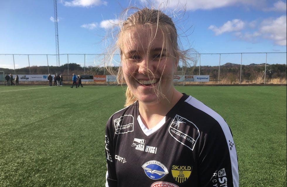 Ava Skrunes skåret målet for Tysværdamene. Foto: Asbjørn Bakken