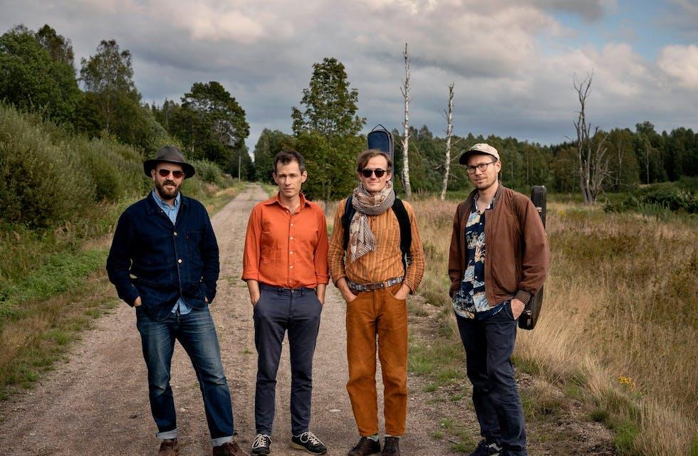 Kjetil Lunde, Gaute Sortland, Ingemund Askeland og Olav Rossebø er Bergen mandolinband i 2020. Foto: Kim Ramberghaug