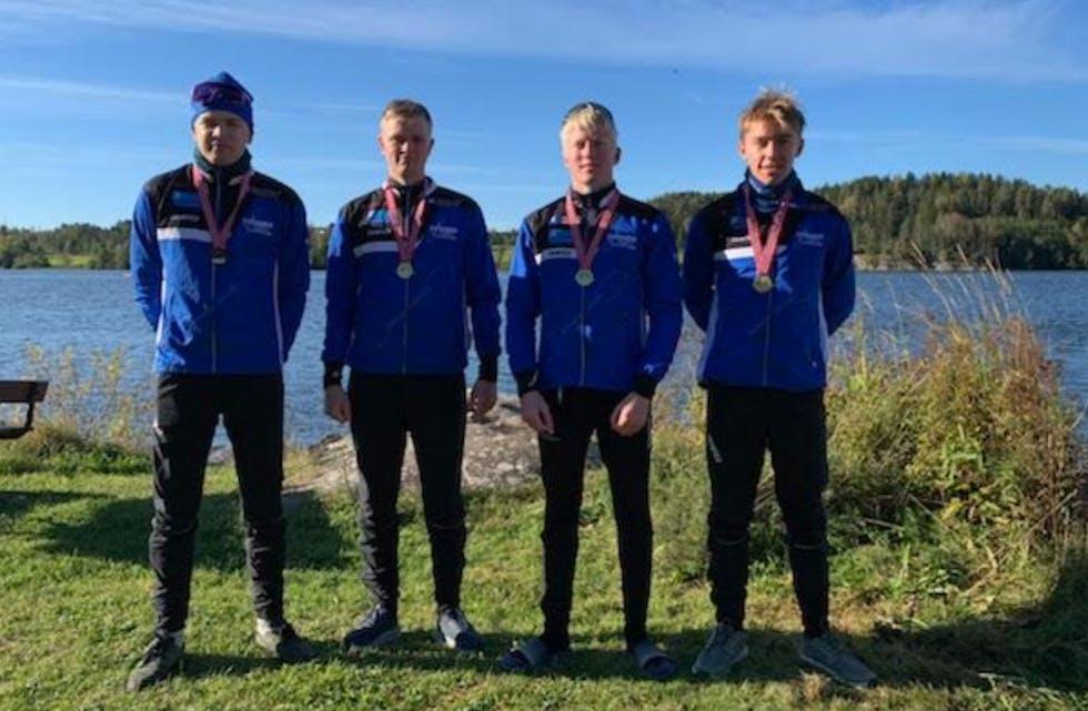 K4 1000m U18 herrer: fv. Nicolai Lønning, Sander Askeland, Emil Fjeldheim, Gudmund Staupe, Foto:  Nils Olav Fjeldheim
