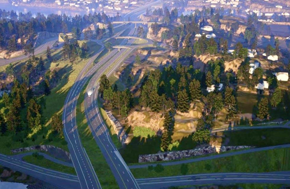 Firefeltsvegar krev mykje plass og gode planar. Nå er strekninga frå Bokn i retning Bergen komme eit steg vidare. Ill: Statens Vegvesen
